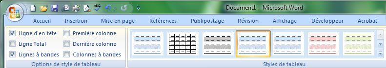 Capture d'écran - Word 2007, choix du style d'habillage