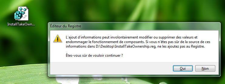 Capture d'écran - Avertisssement de sécurité avant édition du registre