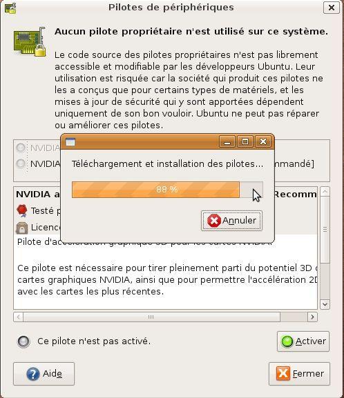 Capture décran - Gestionnaire des pilotes de périphériques sous Ubuntu