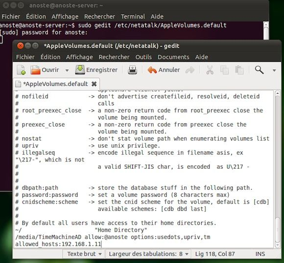 Capture d'écran - Configuration de AppleVolumes.default