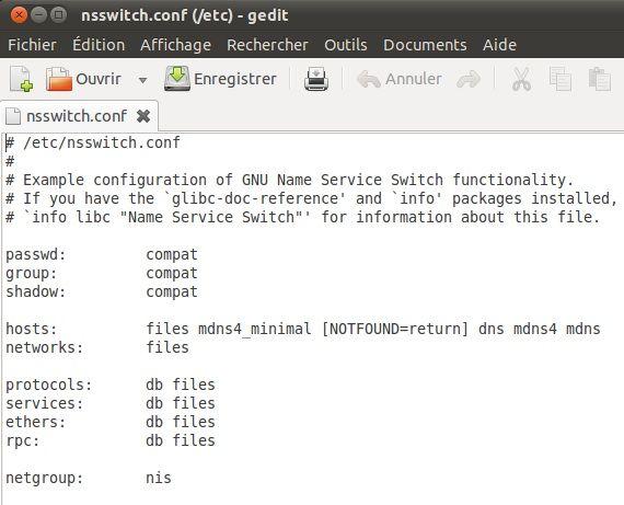 Capture d'écran - Paramètrage de nsswitch.conf