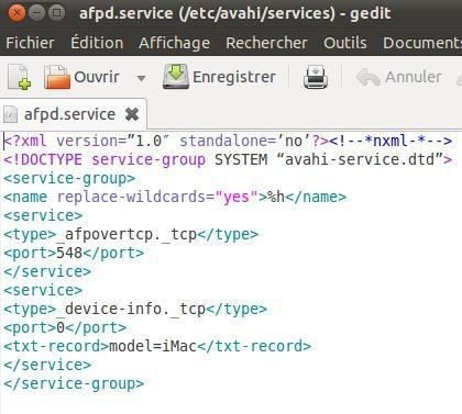 Capture d'écran - Configuration du service AFP