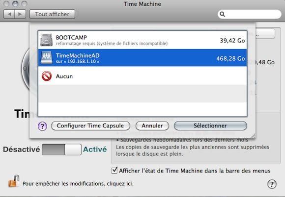 Capture d'écran - Choix de la partition de sauvegarde réseau via Time Machine