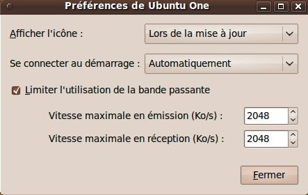 Capture décran - Configuration des options du client Ubuntu One