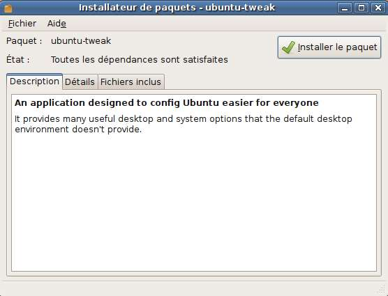 Capture décran - Ubuntu, installation de Ubuntu Tweak