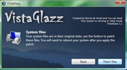 Capture d'écran - Vista Glazz, patch des fichiers systèmes