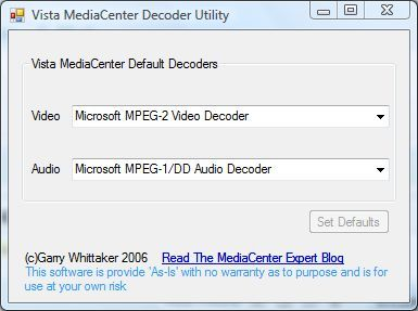 Capture d'écran - Vista MediaCenter Decoder Utility