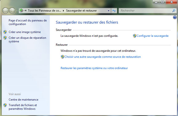 Capture d'écran - Assistant de sauvegarde Windows 7
