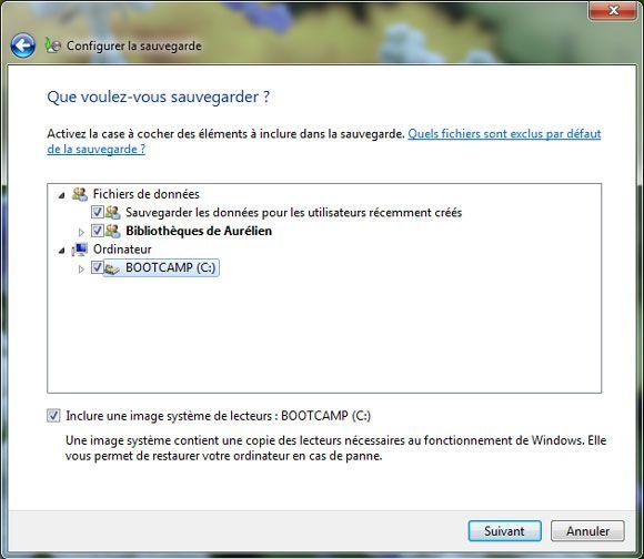 Capture d'écran - Configuration des données à sauvegarder