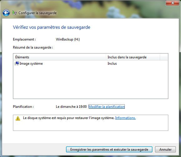 Capture d'écran - Vérification des paramètres de sauvegarde