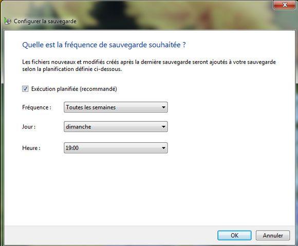 Capture d'écran - Fréquence de la sauvegarde Windows