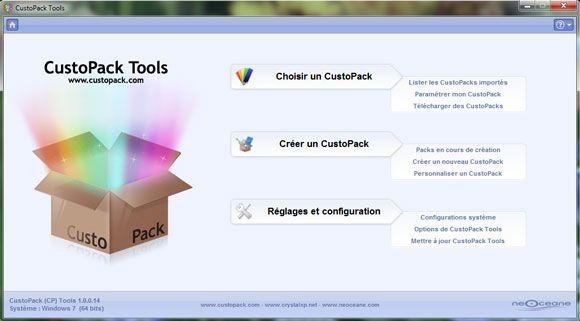 Capture d'écran - CustoPack Tools, écran d'accueil