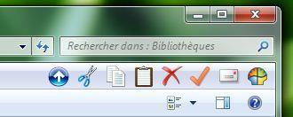 Capture d'écran - Explorateur Windows, ancienne barre d'outils