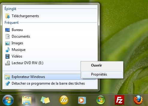 Capture d'écran - Icône Explorateur Windows de la barre des tâches sous Windows 7