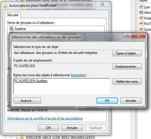 Capture d'écran - Ajout de l'utilisateur pour modifier le registre