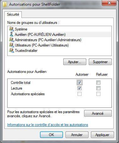 Capture d'écran - Paramétrage des autorisations
