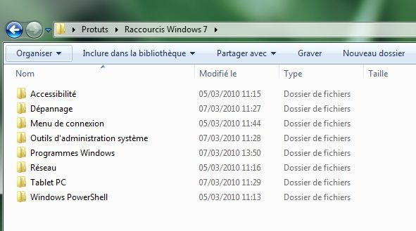 Capture d'écran - Ensemble des raccourcis Windows 7