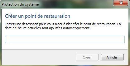Capture d'écran - Nom du point de restauration système