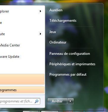 Capture d'écran - Menu démarrer, absence de miniature de profil utilisateur