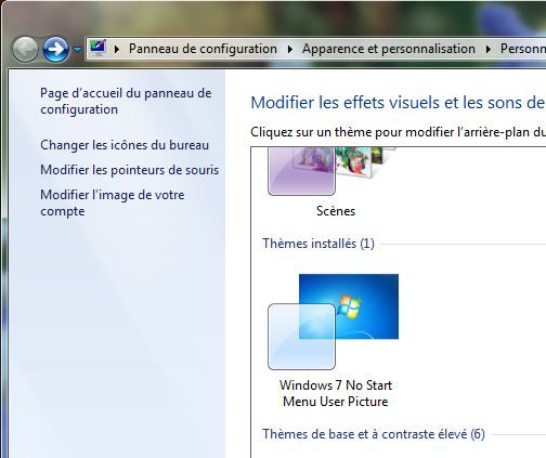 Capture d'écran - Thème Windows 7 No Start Menu User Picture