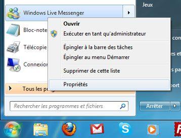 Capture d'écran - Propriétés de l'icône Windows Live Messenger