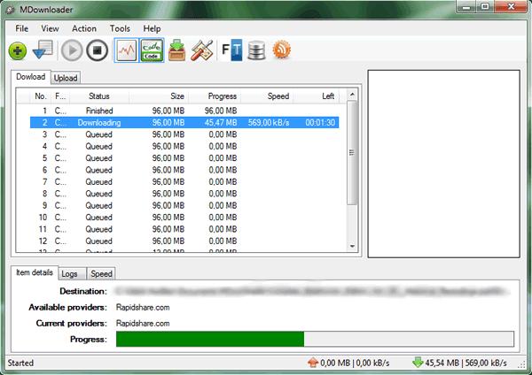 Capture d'écran - MDownloader, aperçu de la fenêtre principale