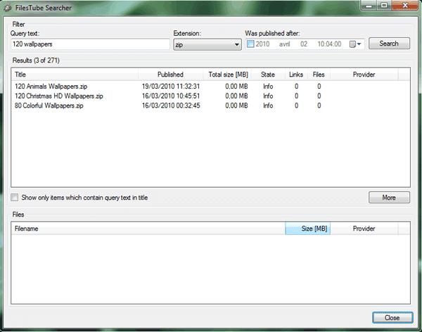 Capture d'écran - MDownloader, processus de recherche sur FilesTube
