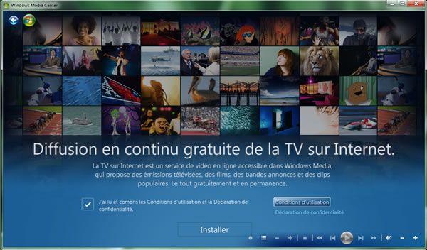 Capture d'écran - Media Center, installation de la TV en différé