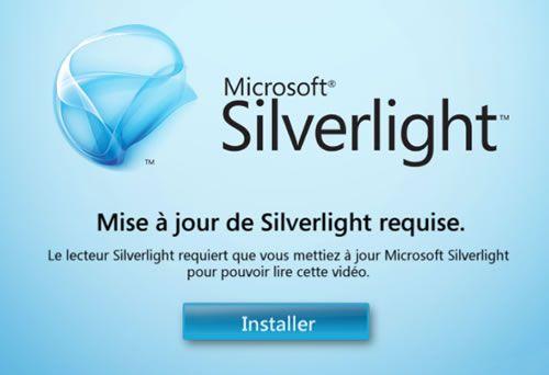 Capture d'écran - Media Center, installation de Silverlight