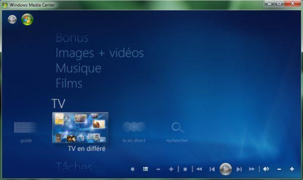 Capture d'écran - Module TV en différé dans Media Center