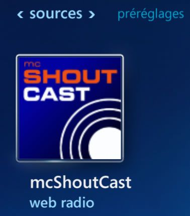 Capture d'écran - Accès ShoutCast via le menu Radio
