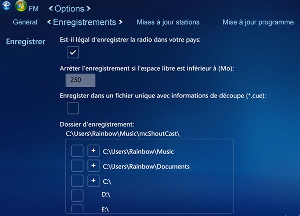 Capture d'écran - Options d'enregistrements de ShoutCast