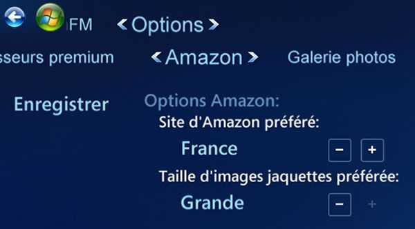 Capture d'écran - Options d'Amazon du plugin ShoutCast