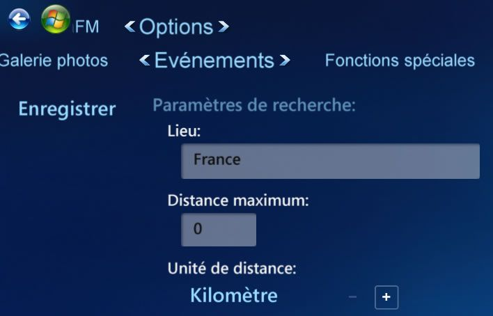 Capture d'écran - Options Evénements ShoutCast