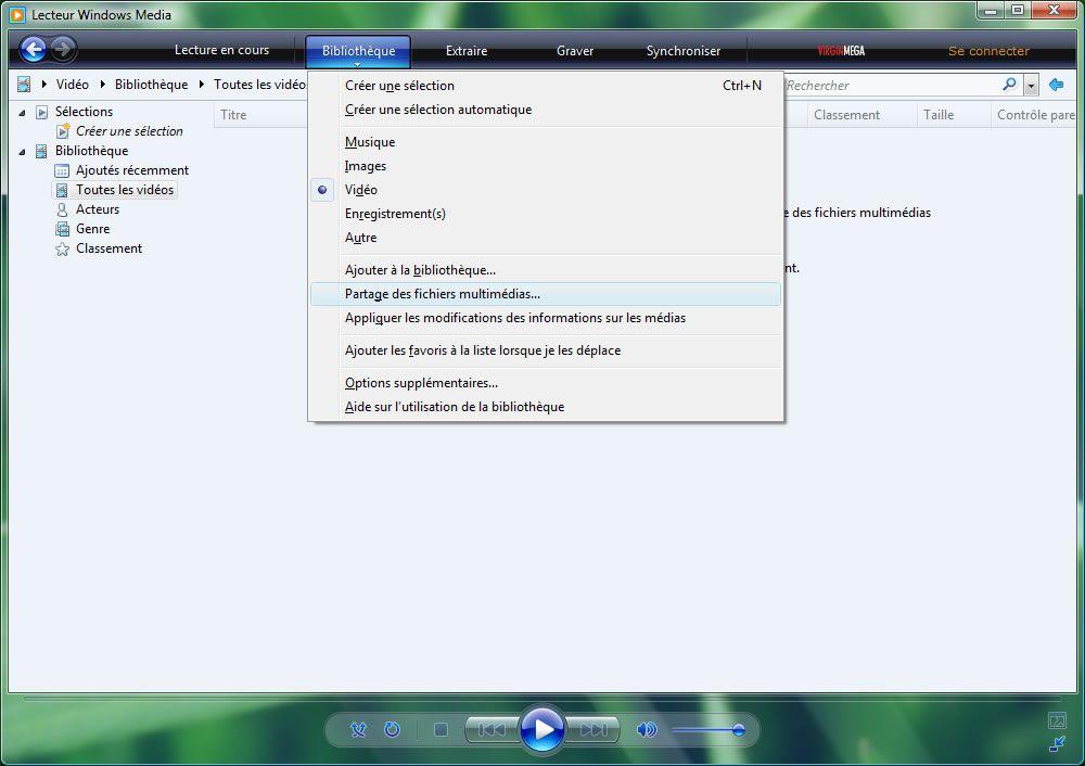 Capture d'écran - Windows Media Player 11, configuration du partage multimédia