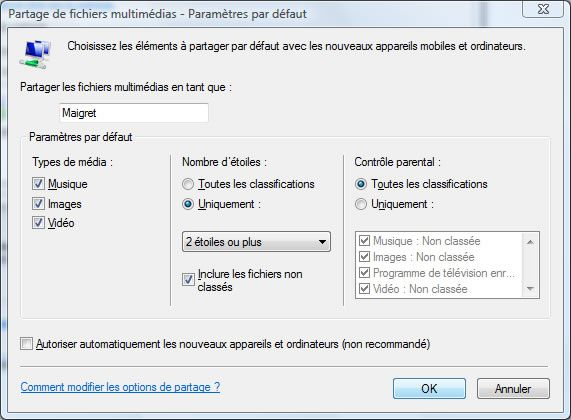 Capture d'écran - Windows Media Player 11, configuration du partage multimédia