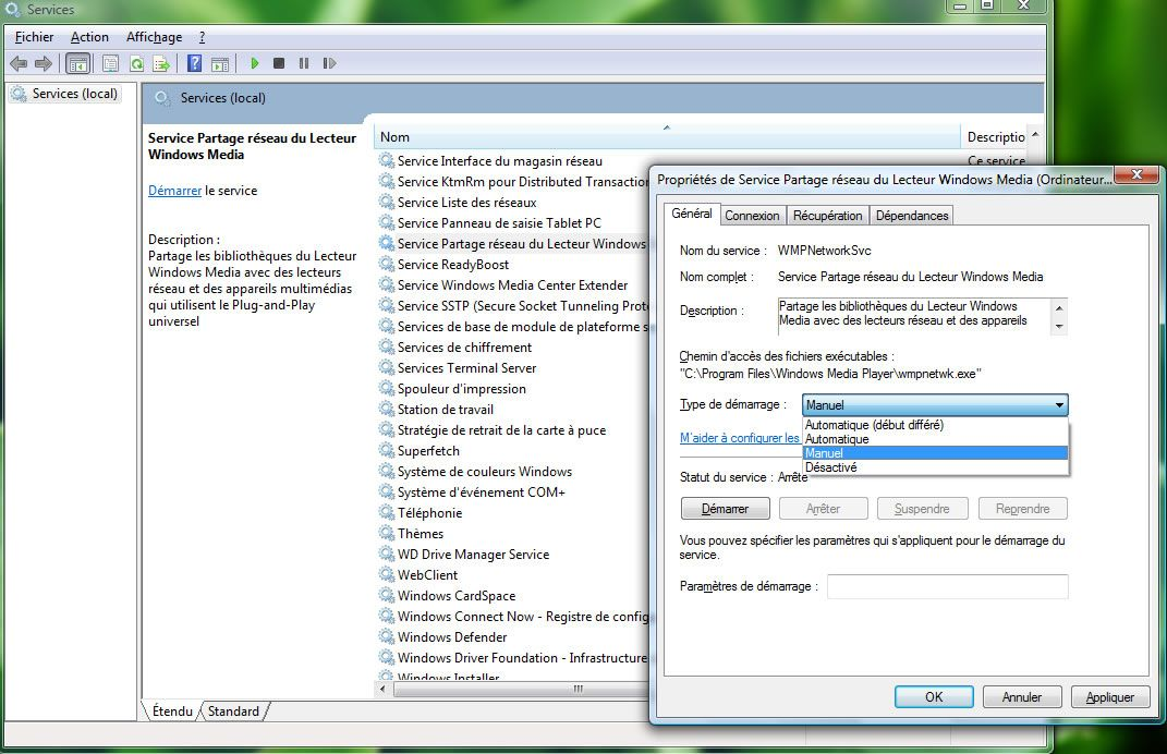 Capture d'écran - Services Windows, désactivation du service de partage du lecteur Windows Media