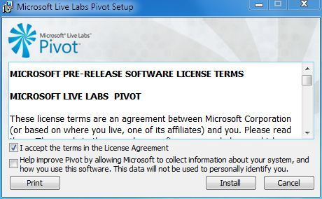 Capture d'écran - Microsoft Pivot, installation