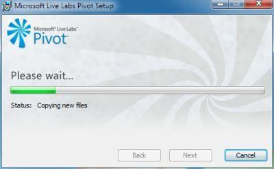 Capture d'écran - Microsoft Pivot, processus d'installation