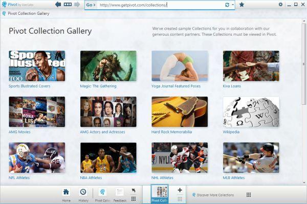 Capture d'écran - Microsoft Pivot, des collections prêtes-à-l'emploi