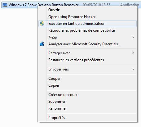 Capture d'écran - Windows 7 Show Desktop Button Remover, exécution en tant qu'administrateur