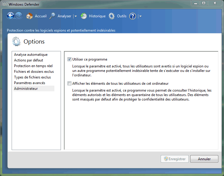 Capture décran - Options administrateur de Windows Defender