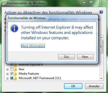 Capture décran - Windows Seven, liste des composants Windows