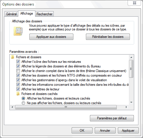 Capture d'écran - Options des dossiers sous Windows 7