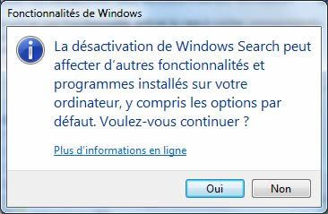 Capture d'écran - Message d'avertissement de la désactivation de Windows Search