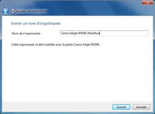 Capture d'écran - Choix du nom de l'imprimante