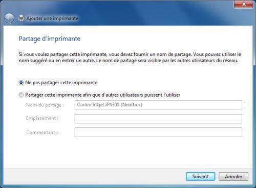 Capture d'écran - Configuration du partage de l'imprimante