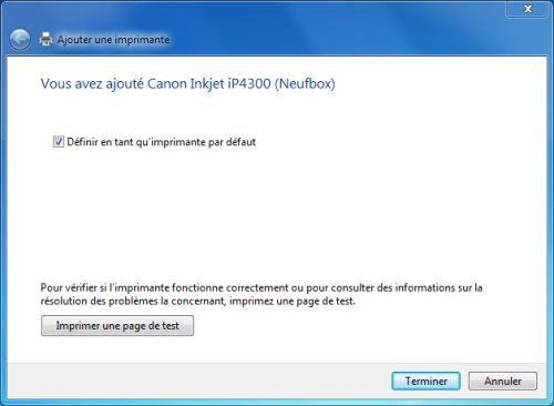 Capture d'écran - Vérification finale de l'installation de l'imprimante réseau