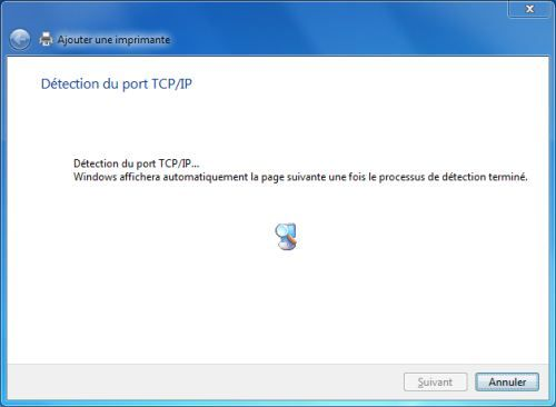 Capture d'écran - Détection du port TCP/IP automatique