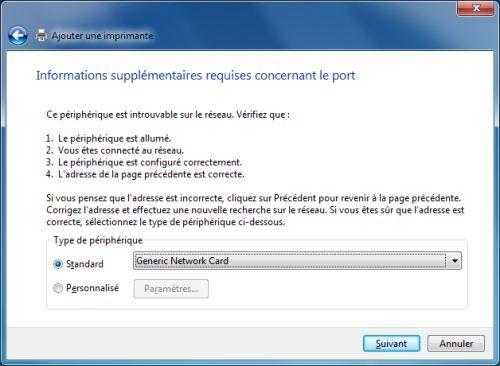 Capture d'écran - Informations complémentaires concernant le port
